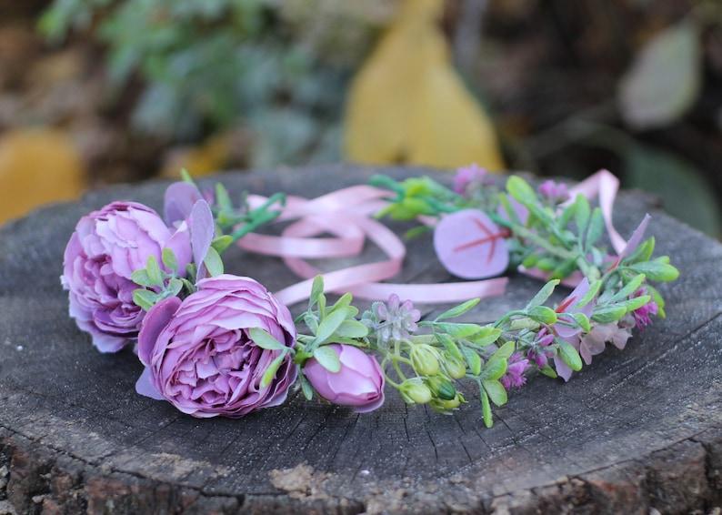 Floral photo shoot crown. bridesmaids Greenery wedding bridal headpiece Eucalyptus dusty purple peony flower crown for flower girls