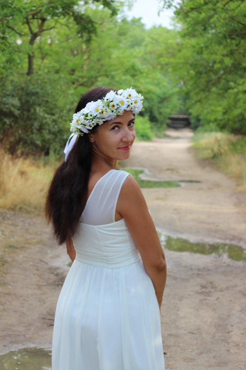 bf4bc18f7 Daisy flower crown Daisy wedding headpiece Greenery baby | Etsy