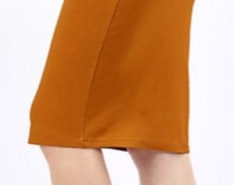 c94c6627620854 Slenderizing Skirt Heavy Ponte Fabric DESERT MUSTARD