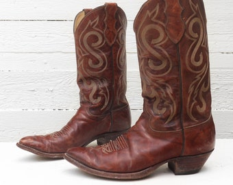 10.5 D | Men's Justin Brown Leather Cowboy Western Boots