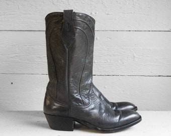 8 1/2 D   1970's Dan Post Cowboy Boots Gray Leather Spanish Boots