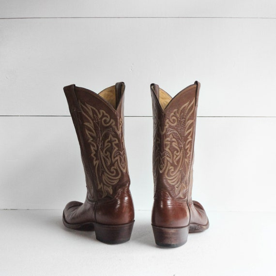 9 D | Men's Justin Brown Western Cowboy Boots - image 4