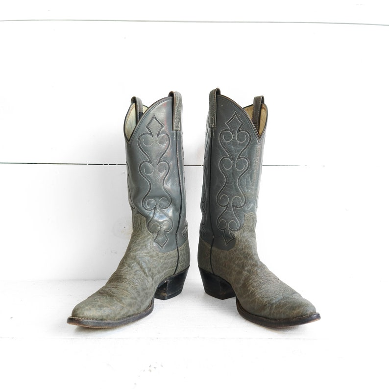 ed0f1ea2bf6 1970's Dan Post Exotic Leather Grey Cowboy Boots