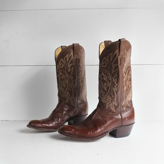 9 D | Men's Justin Brown Western Cowboy Boots - image 3