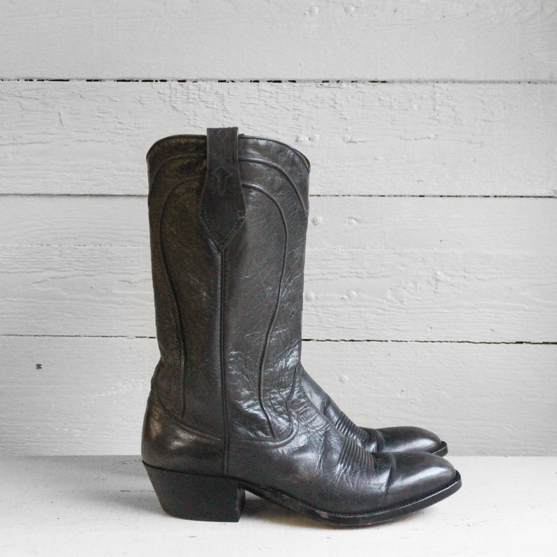 291de9fbed8 8 1/2 D | 1970's Dan Post Cowboy Boots Gray Leather Spanish Boots