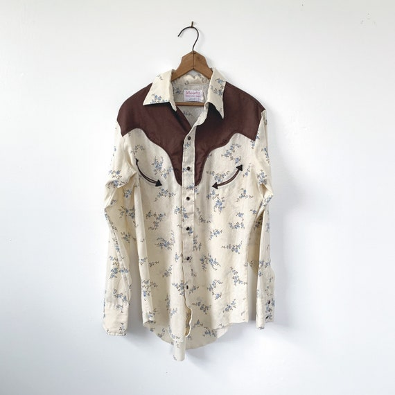 1960's 1970's Wrangler Brown & Blue Floral Pearl S
