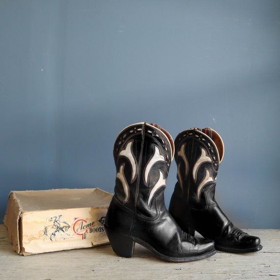 1950s Acme Pee Wee Boots Inlay Black Leather Cowbo