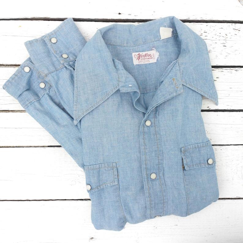 Light Weigth Denim Pearl Snap Western Shirt