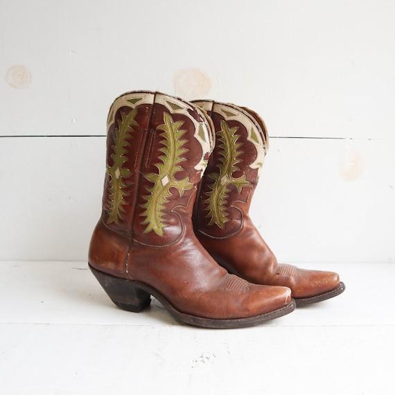 Vintage 1940s Teitzel Jones Western Boots Inlay Pe