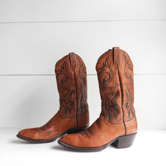 10 B | 1970's Dan Post Cowboy Boots Men's Caramel
