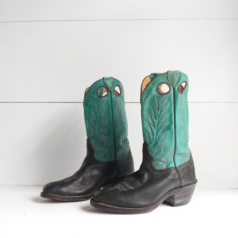 800f2c42a9b 9 D | Men's Larry Mahan Turquoise and Black Western Boots w/ Purple  Stitching