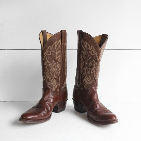 9 D | Men's Justin Brown Western Cowboy Boots - image 2