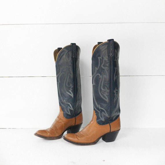 Dan Post Tall Western Blue Cowboy Boots