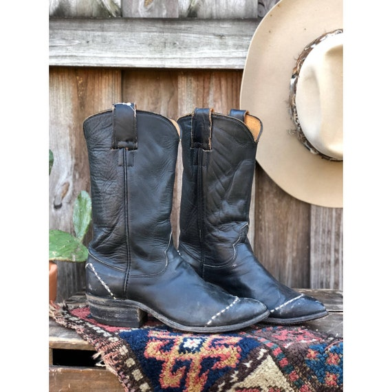 Hyer Navy Blue Wingtip Western Cowboy Boots