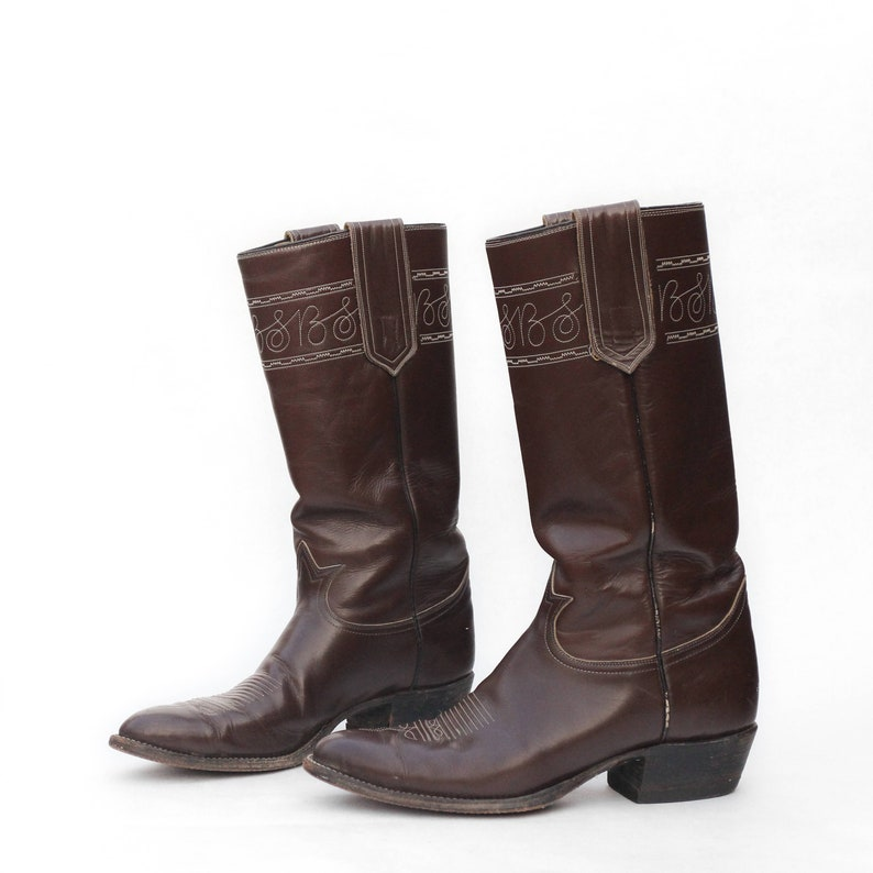 2bd4542ceb8 Men's Tony Lama Tall Stovepipe Western Boots in Brown Leather Size 11 D