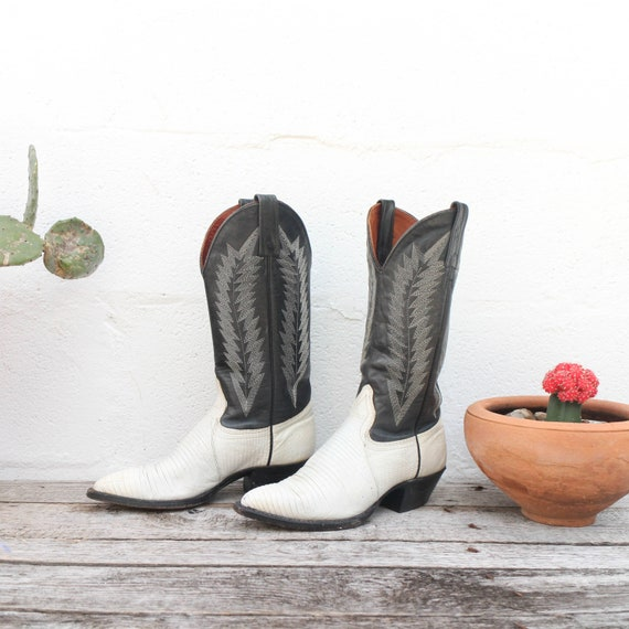 J. Chisholm  White & Black Lizard Western Boots Tw