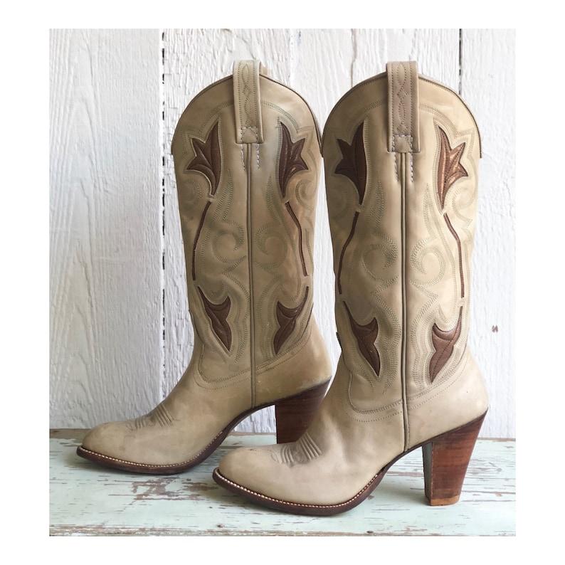 d64eab55523 Vintage 1970's Dan Post Inlay Cowboy Boots