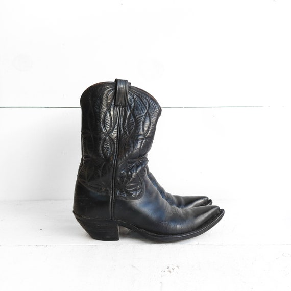 Black Leather Cowboy Boots | Vintage Western Wear