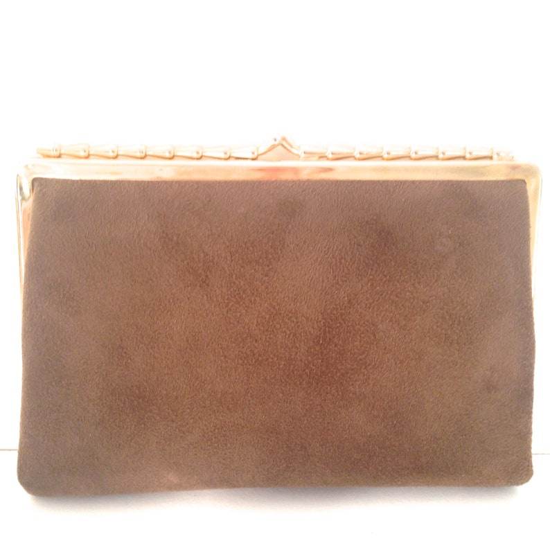 a631b74f74 Vintage 50s leather bag dainty suede leather clutch purse