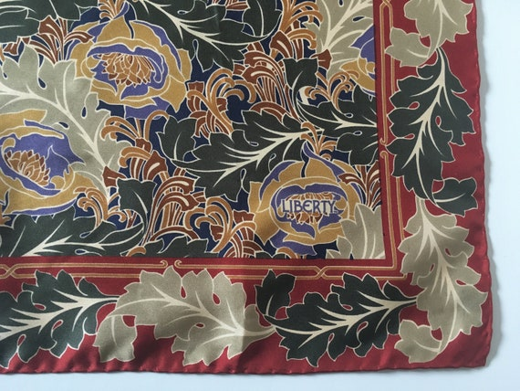 Vintage Liberty of London silk scarf, red, blue, g
