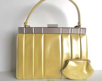 Vintage 50s 'citrus' lemon yellow pearlescent leather large Kelly bag with silver grey lucite trim and coin purse by Lodix made in England