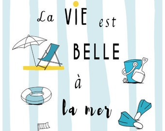 Illustration Children's Room - Beach - Holidays - Made in France