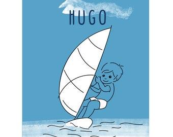 Illustration Children's Room - Beach - Holidays -boy- Made in France