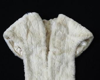 1950's white fur shoulder wrap