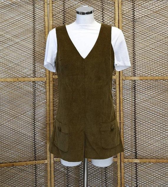 1960's Corduroy Hot Pants Jump Suit