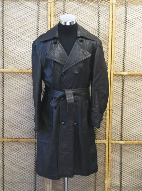 Original 1970's Man's Leather Trench Style Coat