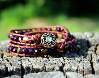 Beaded Leather Wrap Bracelet-Purple and Gold with Celtic Hearts