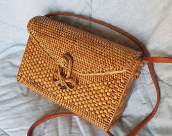 Brown Handwoven Rattan Bag Bali Envelope Model - Straw Shoulder Bag - Ata  Grass Bag - Rectangular Straw Bag - Summer Bag - Valentines Bag 728659fdf6c47