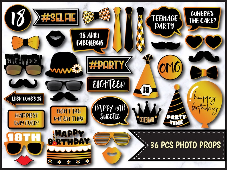 Birthday Party Props PDF File 0096 18th Birthday Photo Booth Props in Black and Gold Printable Photo Booth Props