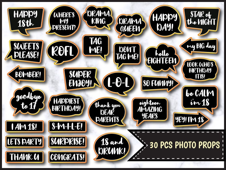 18th Birthday Speech Bubble Photo Booth Props in Black and Gold - Printable  Photo Booth Props - Birthday Party Props - PDF File 0108