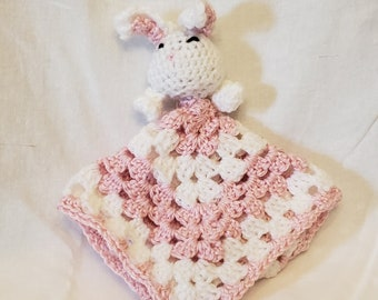Pink Bunny Lovey Security Blanket