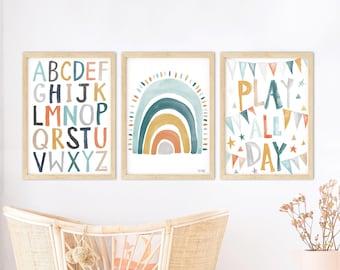 Pip+Phee Rainbow Alphabet Teal, Mustard & Rust Playroom Set of Prints