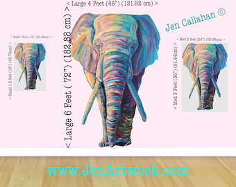 "Large Jungle Elephant Decal, Kid Art by Jen Callahan © Original ""Elephant Journey"", Jungle Theme Bedrooms Nurseries Classroom Playroom ROOM"