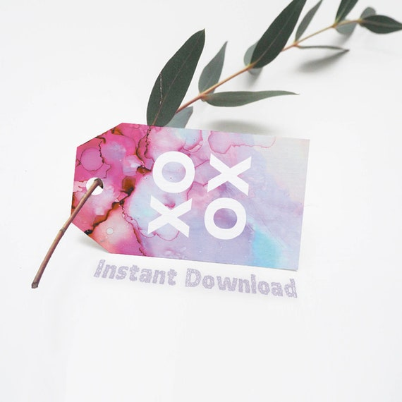 xoxo watercolor ombre printable gift tags wedding favor tags etsy