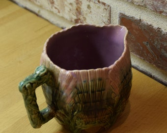 Etruscan Majolica Pottery Pitcher/creamer shell seaweed coral