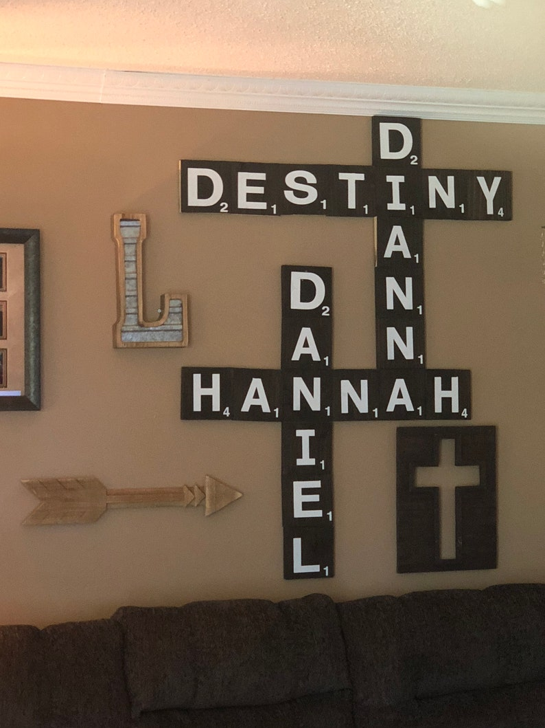 Large scrabble tile wall art decor sale custom name on etsy