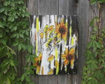 """Sunflower and Hand Painting 16"""" by 20"""""""