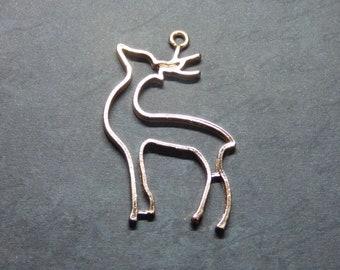 Deer Pendant For Resin, Open Back Bezel, Animal Pendant Frame, Reindeer Charm Earrings Blanks, Resin Supplies for Jewellery, Kawaii Craft