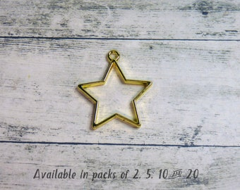 2-20 Pieces Gold Tone Colour Hollow Star Bezel Charms Celestial Galaxy Open Back Outline Frames