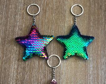 Star Shaped Mermaid Sequins Key Chain Handbag Pendant Keyring Jewelry Gifts CRIT