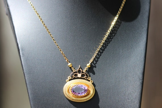 Victorian 15ct amethyst pendant, with a modern 9ct