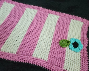 Pink and White Striped Altar Cloth with Blue Flower || CLEARANCE