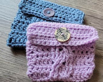 Crocheted Bag || Twisting Cables Tarot Pouch