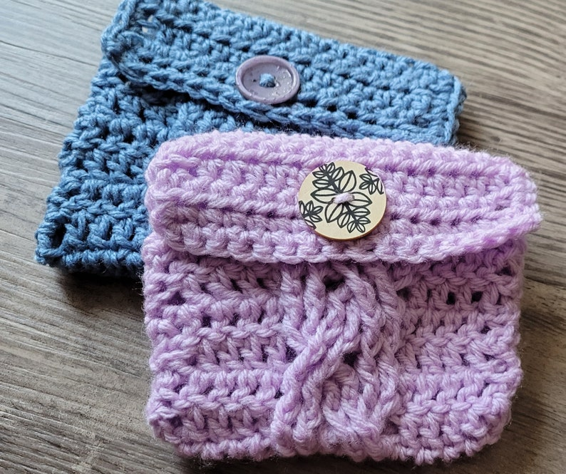 Crocheted Bag  Twisting Cables Tarot Pouch image 0