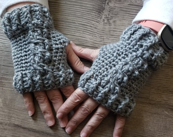 Fingerless Gloves || Crocheted Twisting Cables || MADE TO ORDER