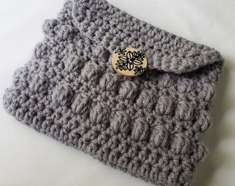 Soft Gray Bobble Pouch with Lining